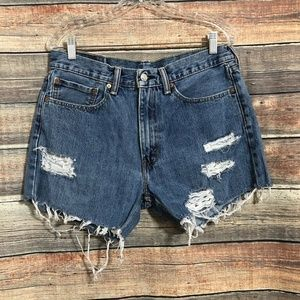 """Vintage Levi's 505 3"""" High Waisted Frayed Distressed Cut Off Shorts"""